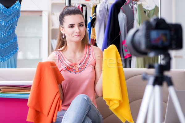 Young woman working as fashion blogger vlogger Stock photo © Elnur