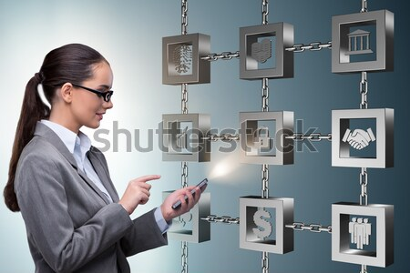 Stock photo: Businesswoman in blockchain cryptocurrency concept