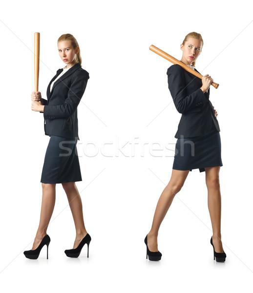 Mujer de negocios bate de béisbol blanco negocios oficina trabajo Foto stock © Elnur