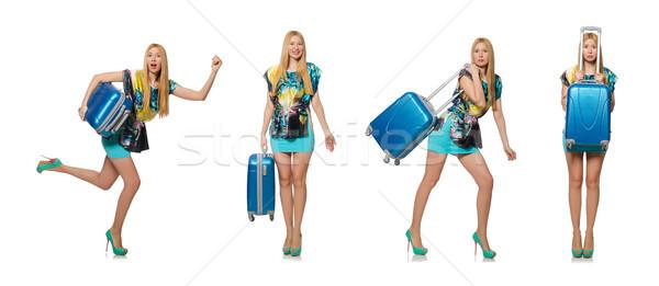 Reizen vakantie bagage witte vrouw strand Stockfoto © Elnur