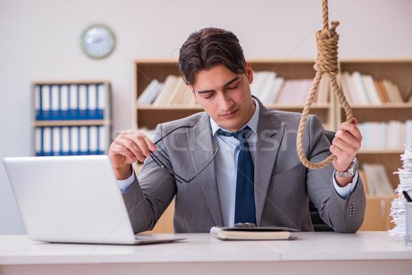 Becsődölt üzletember öngyilkosság akasztás iroda laptop Stock fotó © Elnur