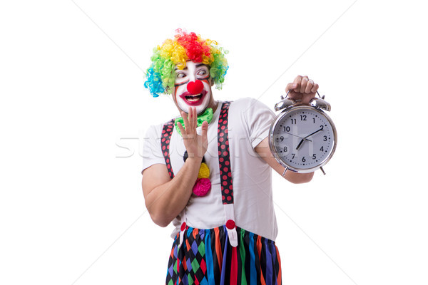 Funny clown with an alarm clock isolated on white background Stock photo © Elnur