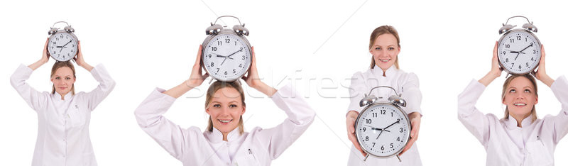 Stockfoto: Vrouw · arts · vermist · deadlines · klok · achtergrond