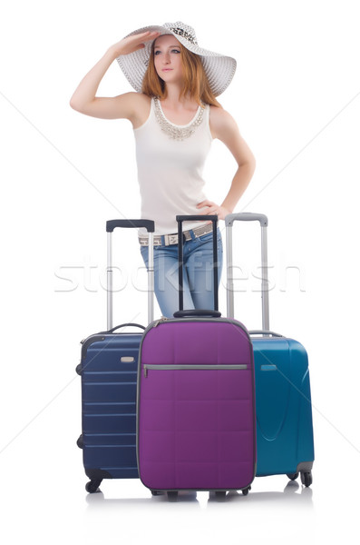 Ragazza valigie isolato bianco felice sfondo Foto d'archivio © Elnur