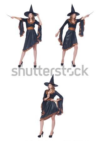 Stockfoto: Vrouw · piraat · geïsoleerd · witte · pistool · mes