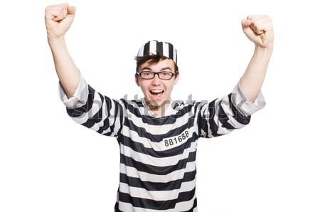 Komik mahkum yalıtılmış beyaz hukuk polis Stok fotoğraf © Elnur