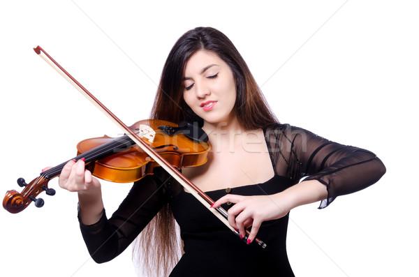 Fiatal előadó hegedű fehér nő koncert Stock fotó © Elnur