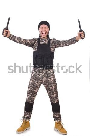 Soldier in camouflage with gun on white Stock photo © Elnur