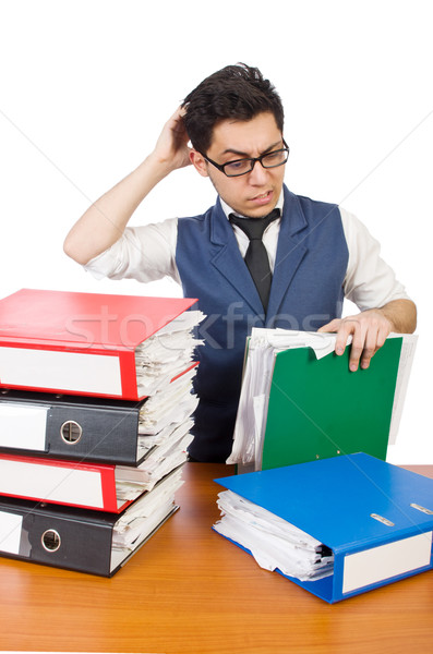 Funny man with lots of folders on white Stock photo © Elnur