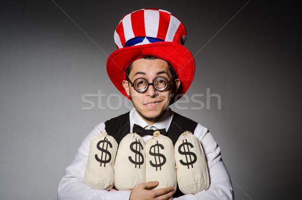 смешные человека американский Hat деньги бизнеса Сток-фото © Elnur