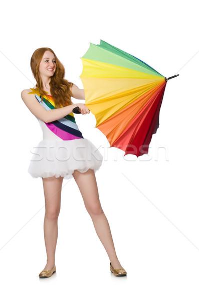 Jonge vrouw paraplu witte zon regen zomer Stockfoto © Elnur