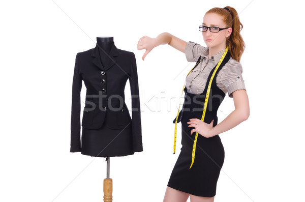 Female tailor isolated on the white Stock photo © Elnur
