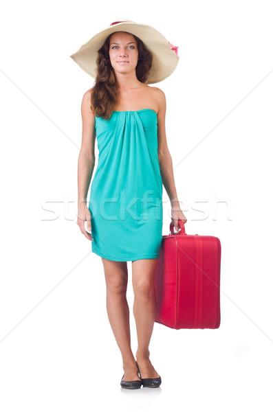 Kobieta podróżnik walizkę odizolowany biały dziewczyna Zdjęcia stock © Elnur