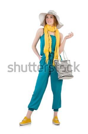 Frau Tasche Mode Modell blau weiß Stock foto © Elnur