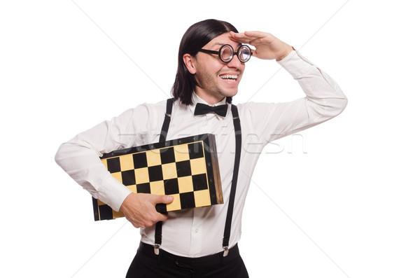 Foto d'archivio: Nerd · scacchi · giocatore · isolato · bianco · mano