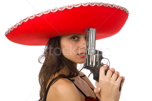 Woman wearing red sombrero isolated on white Stock photo © Elnur