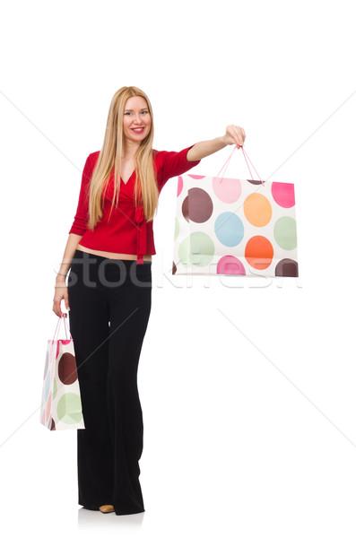 Jonge vrouw pants geïsoleerd witte gelukkig mode Stockfoto © Elnur