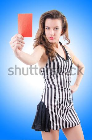 Woman gangster with dynamite sticks on white Stock photo © Elnur