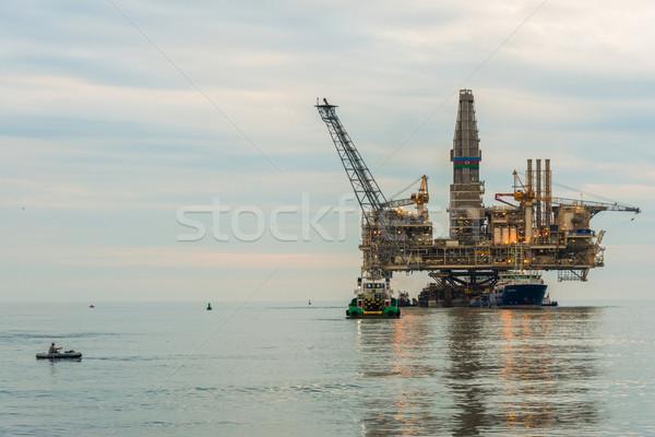 Oil rig platform in the calm sea Stock photo © Elnur