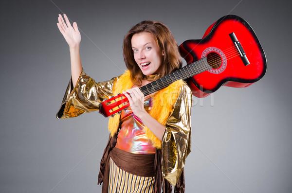 Gitarrist rot Instrument Musik Party Hintergrund Stock foto © Elnur