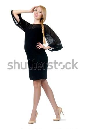 Csinos terhes nő fekete ruha izolált fehér baba Stock fotó © Elnur