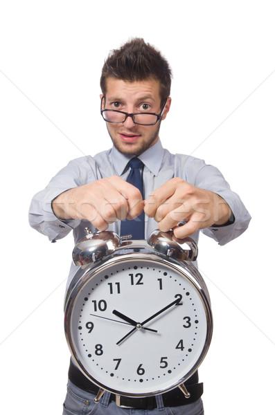Człowiek zegar spełniają ostateczny termin odizolowany biały człowiek Zdjęcia stock © Elnur