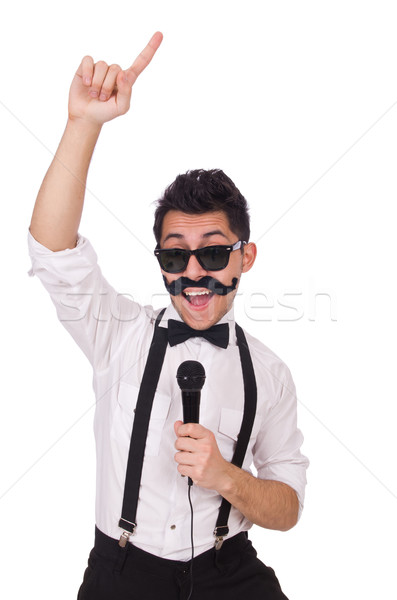 Funny man with mic isolated on white Stock photo © Elnur