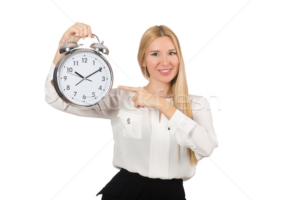 Businesswoman with clock isolated on the white background Stock photo © Elnur