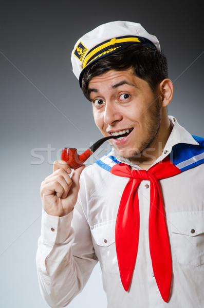 Funny marynarz hat uśmiech człowiek Zdjęcia stock © Elnur