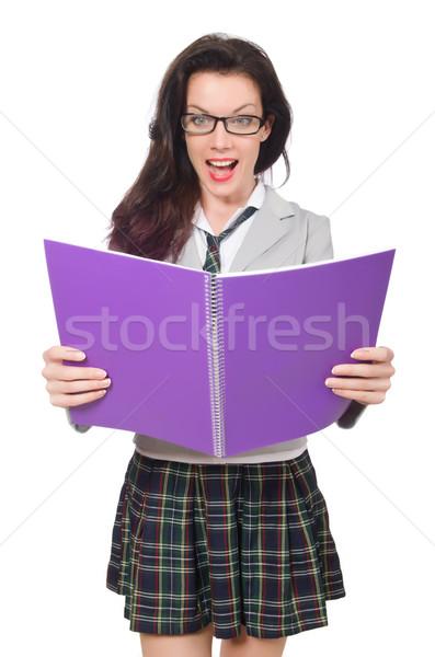 Jonge student geïsoleerd witte glimlach boek Stockfoto © Elnur