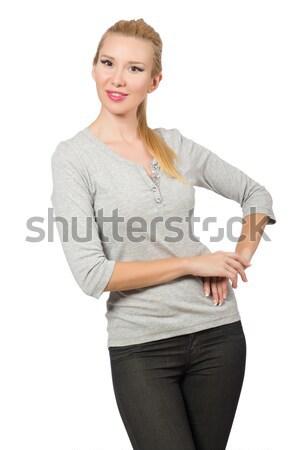 Mooie vrouw grijs blouse geïsoleerd witte vrouw Stockfoto © Elnur