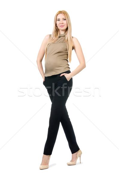 Belo mulher grávida isolado branco bebê moda Foto stock © Elnur