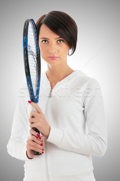 Jong meisje tennisracket geïsoleerd witte sport sport Stockfoto © Elnur