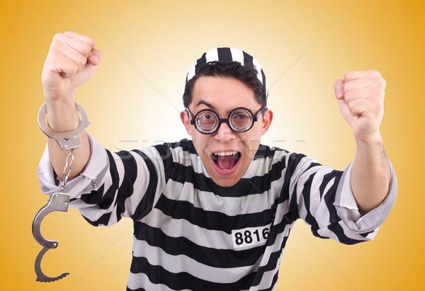 Komik mahkum yalıtılmış beyaz adam hukuk Stok fotoğraf © Elnur