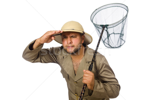 Man hunting for butterflies isolated on white Stock photo © Elnur