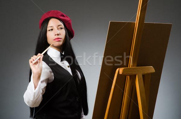 Grappig kunstenaar werken studio frame kunst Stockfoto © Elnur