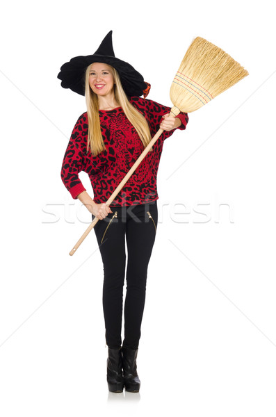 Funny witch with broom isolated on white Stock photo © Elnur