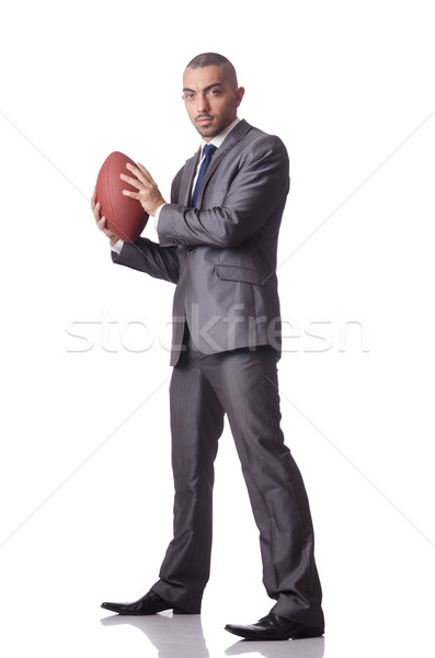 Man with american football ball isolated on white Stock photo © Elnur
