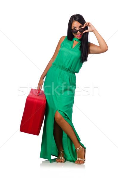 женщину чемодан изолированный белый счастливым аэропорту Сток-фото © Elnur