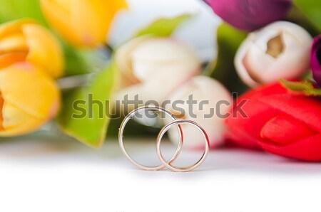 結婚指輪 花 孤立した 白 花 結婚式 ストックフォト © Elnur