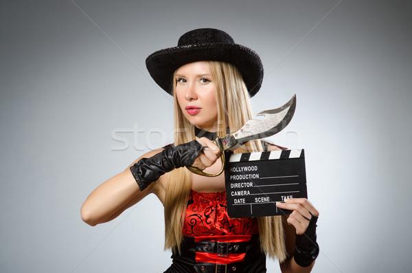 Kobieta pirackich kostium halloween strony moda Zdjęcia stock © Elnur