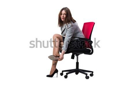 Foto stock: Empresária · sessão · isolado · branco · mulher · menina