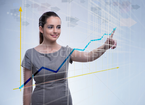 Young businesswoman with chart diagrams Stock photo © Elnur