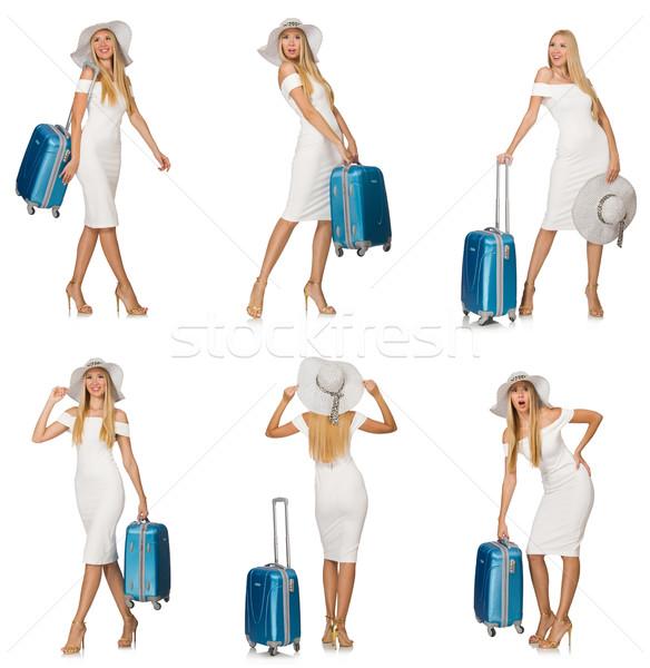 Utazás nő bőrönd izolált fehér üzlet Stock fotó © Elnur