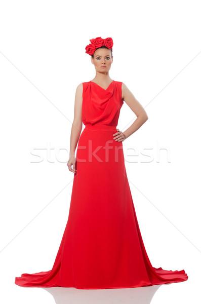 かなり 白人 モデル 赤 長い イブニングドレス ストックフォト © Elnur