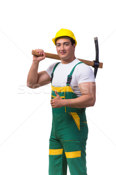 Man in green coveralls with axe isolated on white Stock photo © Elnur
