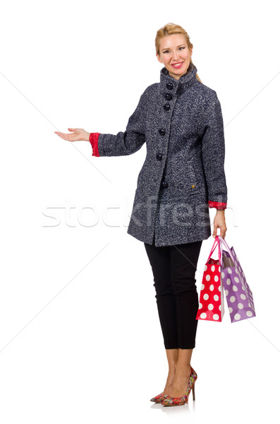 Mooie model grijs jas winkelen geïsoleerd Stockfoto © Elnur