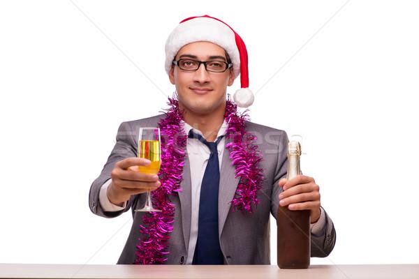 Stockfoto: Jonge · zakenman · vieren · christmas · kantoor · business