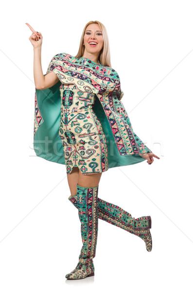 Model wearing dress with Azerbaijani carpet elements isolated on Stock photo © Elnur