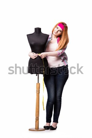 Komik terzi yalıtılmış beyaz kadın moda Stok fotoğraf © Elnur